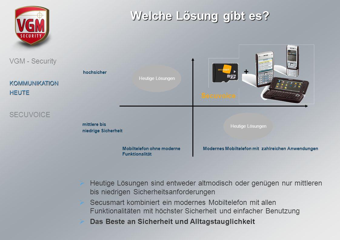 Welche Lösung gibt es? Mobiltelefon ohne moderne Funktionalität hochsicher mittlere bis niedrige Sicherheit Modernes Mobiltelefon mit zahlreichen Anwe