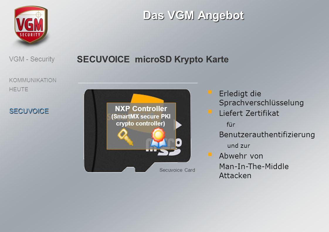 Das VGM Angebot VGM - Security KOMMUNIKATION HEUTESECUVOICE SECUVOICE microSD Krypto Karte Secuvoice Card NXP Controller (SmartMX secure PKI crypto co