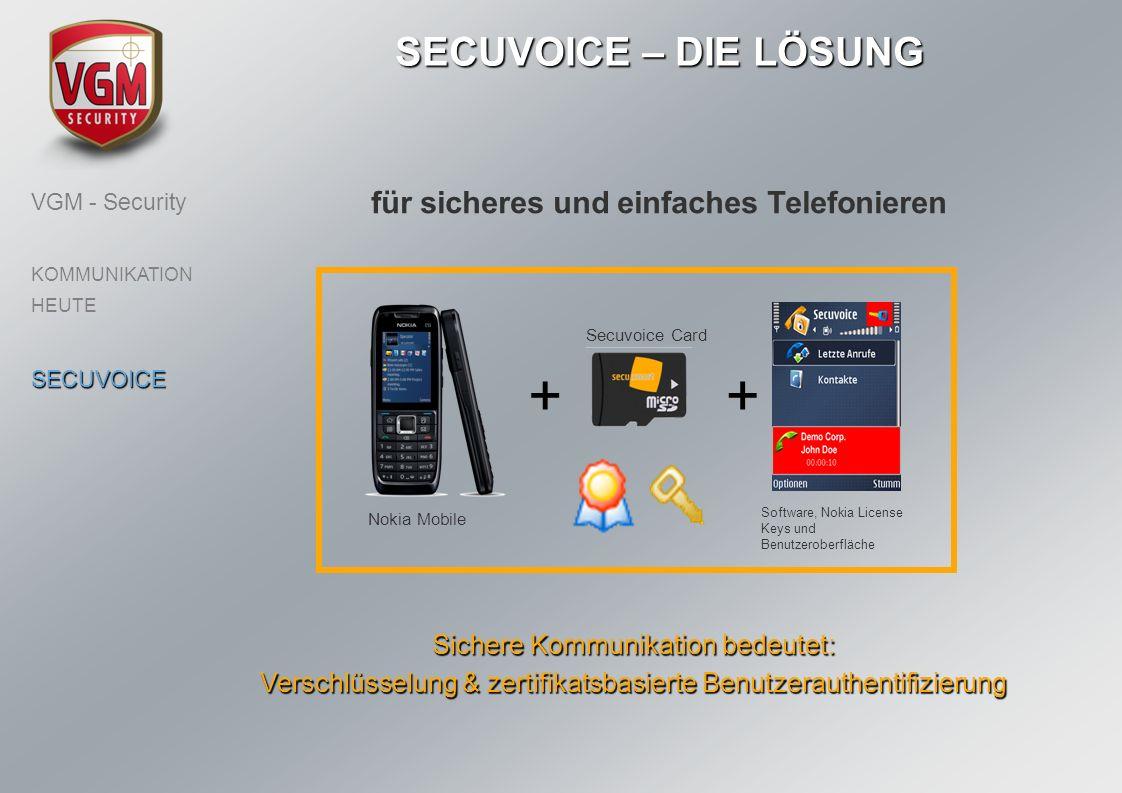 für sicheres und einfaches Telefonieren SECUVOICE – DIE LÖSUNG Sichere Kommunikation bedeutet: Verschlüsselung & zertifikatsbasierte Benutzerauthentif