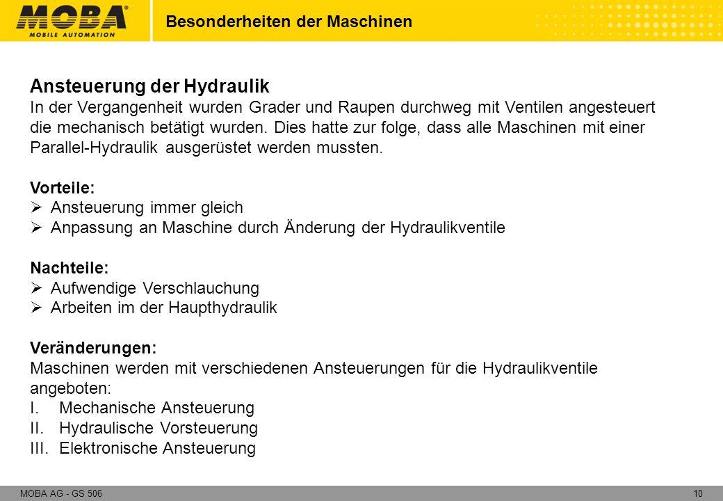 10MOBA AG - GS 506 Besonderheiten der Maschinen Ansteuerung der Hydraulik In der Vergangenheit wurden Grader und Raupen durchweg mit Ventilen angesteu