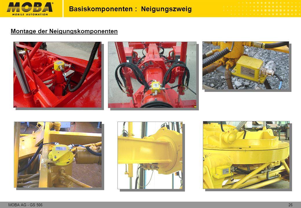 26MOBA AG - GS 506 Montage der Neigungskomponenten Basiskomponenten : Neigungszweig