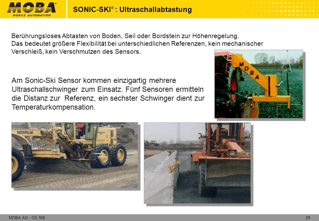 29MOBA AG - GS 506 Am Sonic-Ski Sensor kommen einzigartig mehrere Ultraschallschwinger zum Einsatz. Fünf Sensoren ermitteln die Distanz zur Referenz,