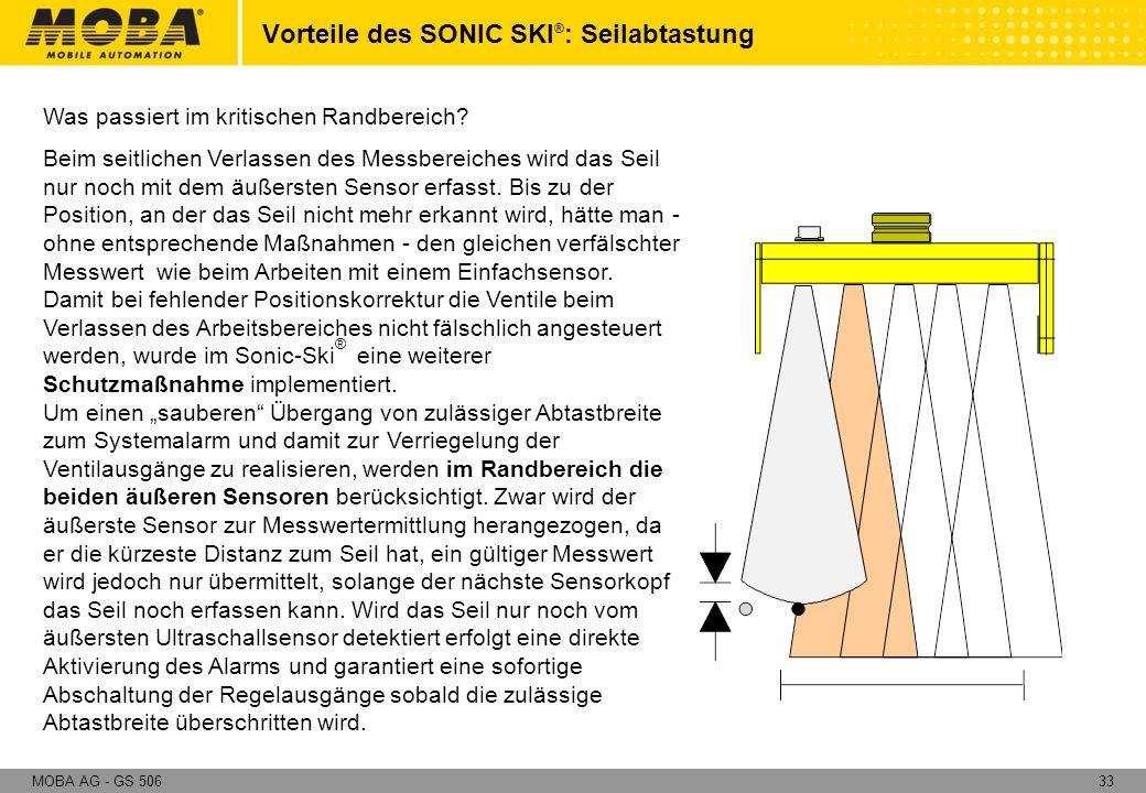 33MOBA AG - GS 506 Was passiert im kritischen Randbereich? Beim seitlichen Verlassen des Messbereiches wird das Seil nur noch mit dem äußersten Sensor