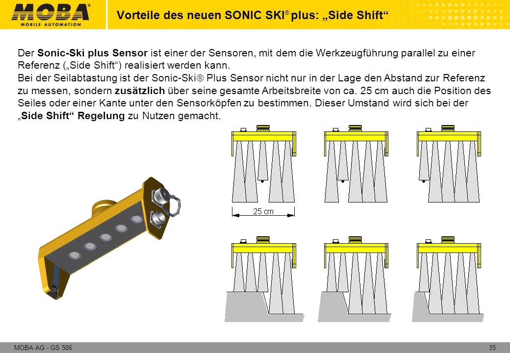 35MOBA AG - GS 506 Der Sonic-Ski plus Sensor ist einer der Sensoren, mit dem die Werkzeugführung parallel zu einer Referenz (Side Shift) realisiert we