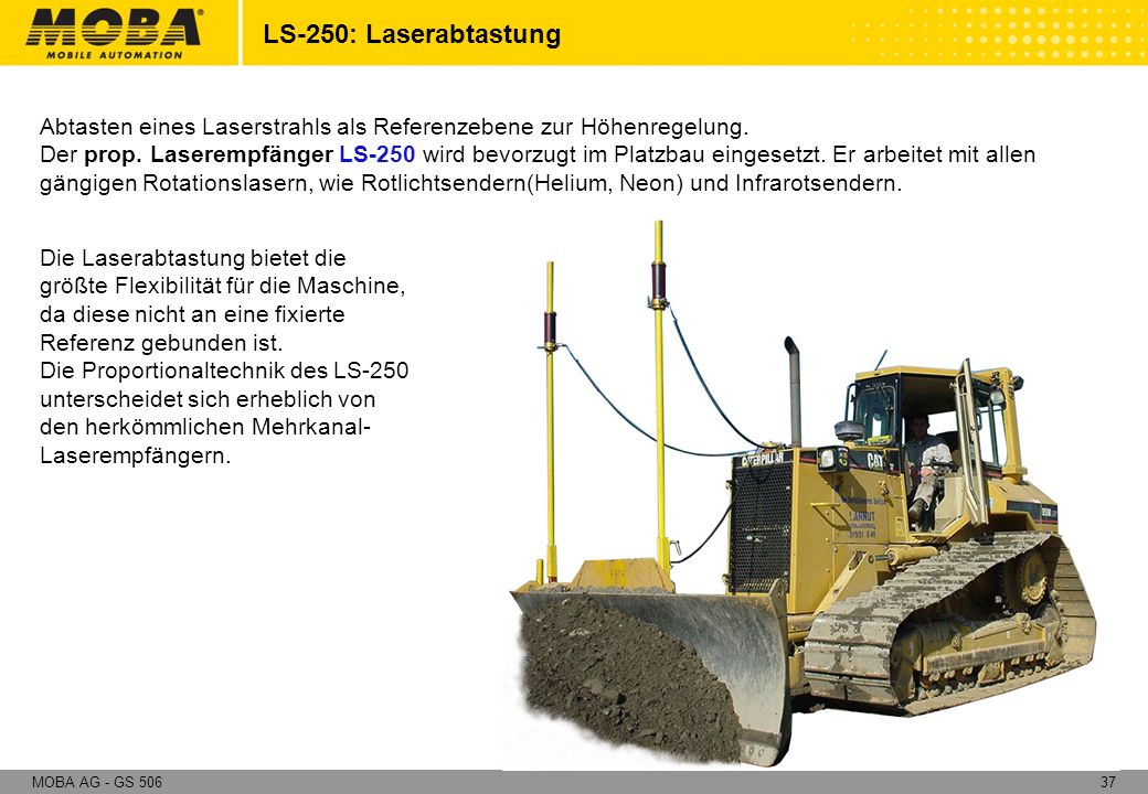 37MOBA AG - GS 506 Abtasten eines Laserstrahls als Referenzebene zur Höhenregelung. Der prop. Laserempfänger LS-250 wird bevorzugt im Platzbau eingese