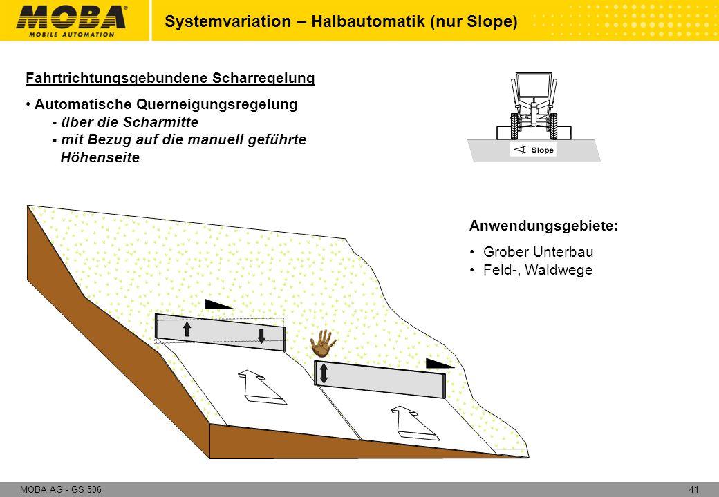 41MOBA AG - GS 506 Anwendungsgebiete: Grober Unterbau Feld-, Waldwege Fahrtrichtungsgebundene Scharregelung Automatische Querneigungsregelung - über d