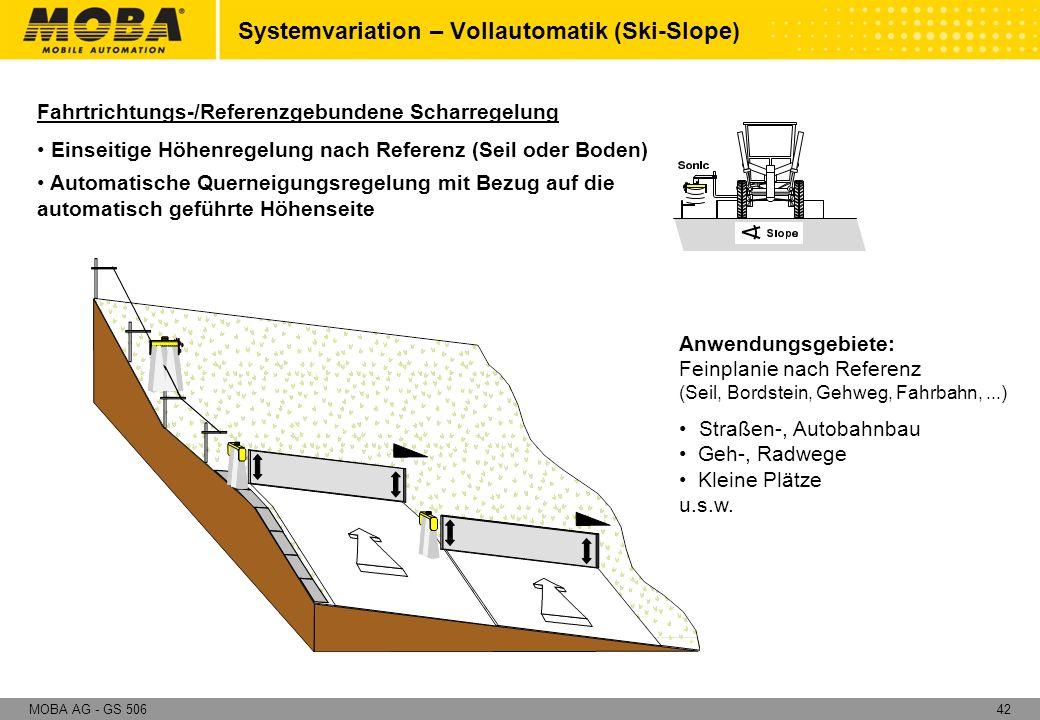 42MOBA AG - GS 506 Fahrtrichtungs-/Referenzgebundene Scharregelung Einseitige Höhenregelung nach Referenz (Seil oder Boden) Automatische Querneigungsr
