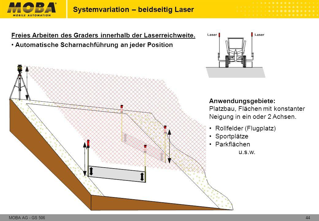 44MOBA AG - GS 506 Systemvariation – beidseitig Laser Freies Arbeiten des Graders innerhalb der Laserreichweite. Automatische Scharnachführung an jede