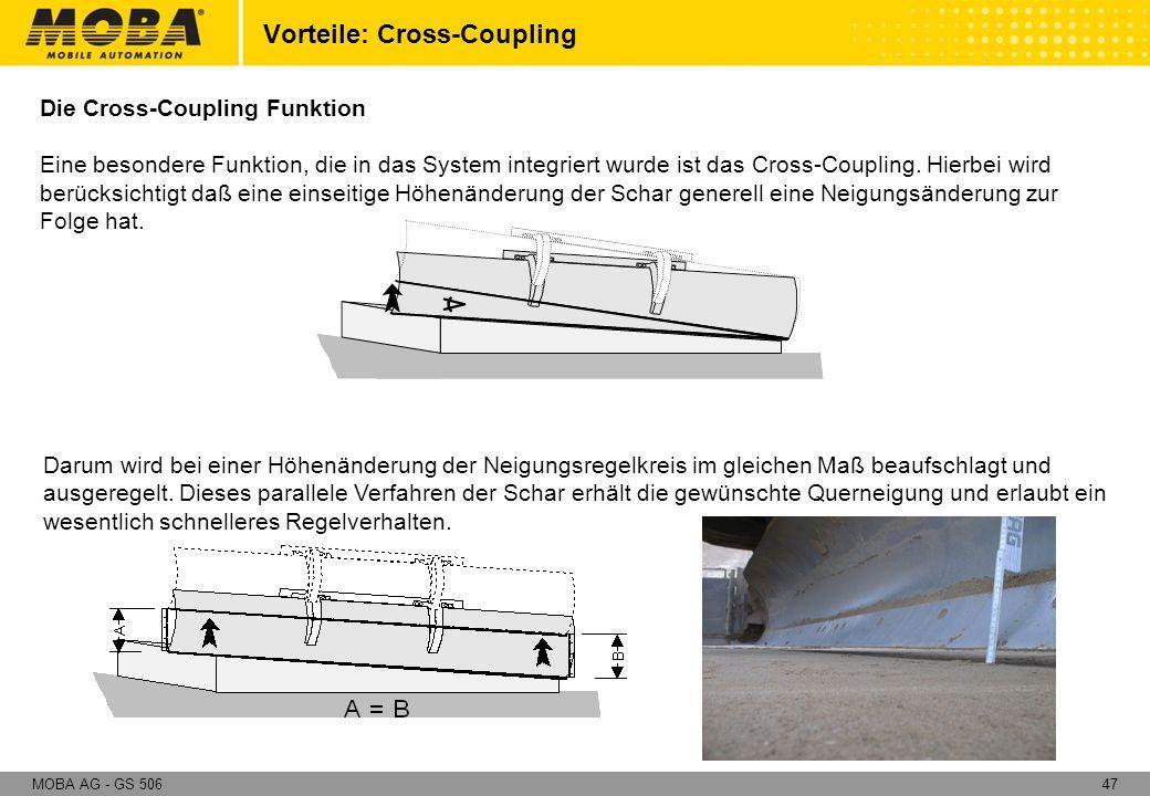 47MOBA AG - GS 506 Die Cross-Coupling Funktion Eine besondere Funktion, die in das System integriert wurde ist das Cross-Coupling. Hierbei wird berück
