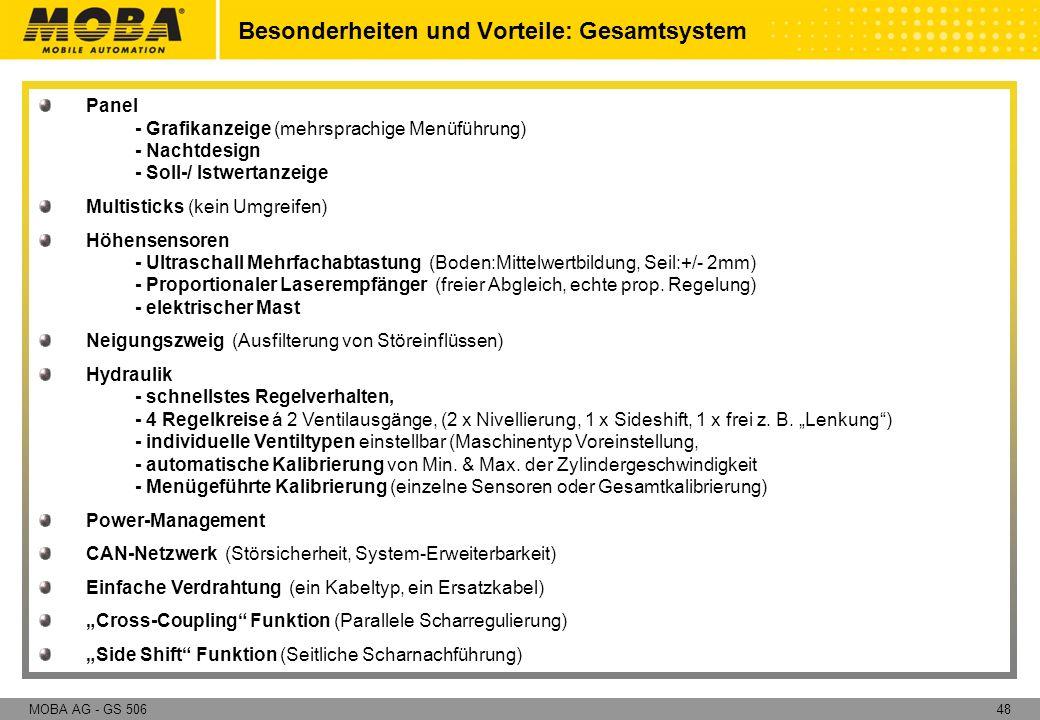 48MOBA AG - GS 506 Besonderheiten und Vorteile: Gesamtsystem Panel - Grafikanzeige (mehrsprachige Menüführung) - Nachtdesign - Soll-/ Istwertanzeige M
