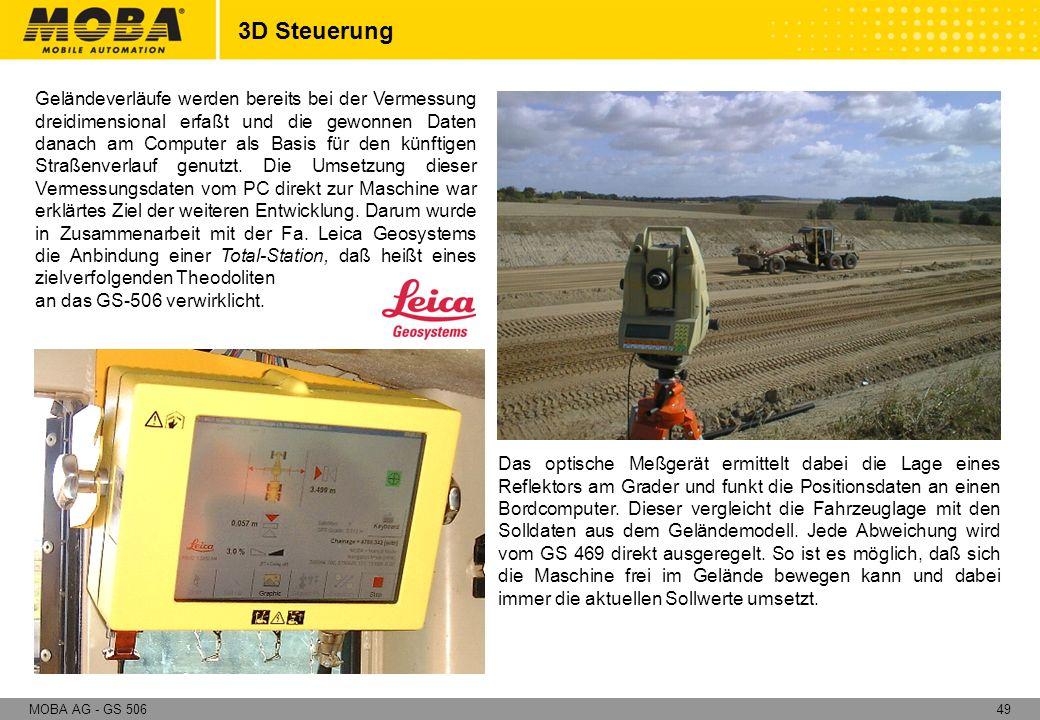 49MOBA AG - GS 506 Geländeverläufe werden bereits bei der Vermessung dreidimensional erfaßt und die gewonnen Daten danach am Computer als Basis für de