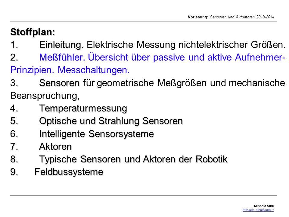 Mihaela Albu Mihaela.albu@upb.ro Vorlesung: Sensoren und Aktuatoren 2013-2014 Spannungsteiler-Meßschaltungen: Ohmsche Widerstands-Meßfühler Spannungsteiler-Meßschaltungen: unbelasteter Spannungsteiler R 0 = R 1 +R 2 mit dem Lastwiderstand R 3 = konstante Speisespannung U 0 die bezogene Teilspannung: U 2 =U 0 (R 2 /R 0 ) Die Kennlinie U 2 =f (R 2 ) ist hierbei linear.