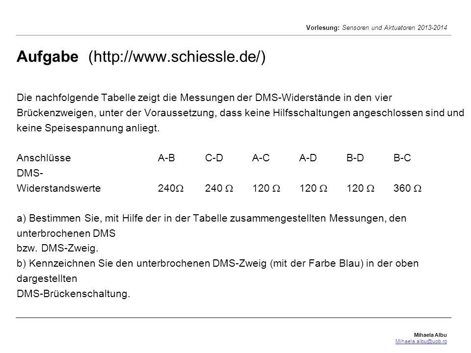 Mihaela Albu Mihaela.albu@upb.ro Vorlesung: Sensoren und Aktuatoren 2013-2014 Aufgabe (http://www.schiessle.de/) Die nachfolgende Tabelle zeigt die Messungen der DMS-Widerstände in den vier Brückenzweigen, unter der Voraussetzung, dass keine Hilfsschaltungen angeschlossen sind und keine Speisespannung anliegt.