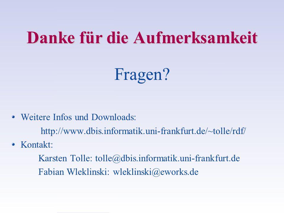 Danke für die Aufmerksamkeit Fragen? Weitere Infos und Downloads: http://www.dbis.informatik.uni-frankfurt.de/~tolle/rdf/ Kontakt: Karsten Tolle: toll