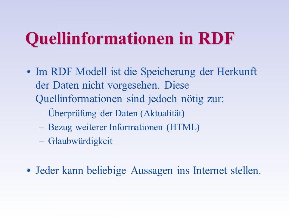 Quellinformationen in RDF Im RDF Modell ist die Speicherung der Herkunft der Daten nicht vorgesehen. Diese Quellinformationen sind jedoch nötig zur: –