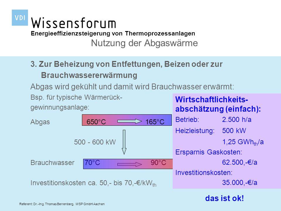 Referent: Dr.-Ing. Thomas Berrenberg, WSP GmbH Aachen Energieeffizienzsteigerung von Thermoprozessanlagen Nutzung der Abgaswärme 3. Zur Beheizung von