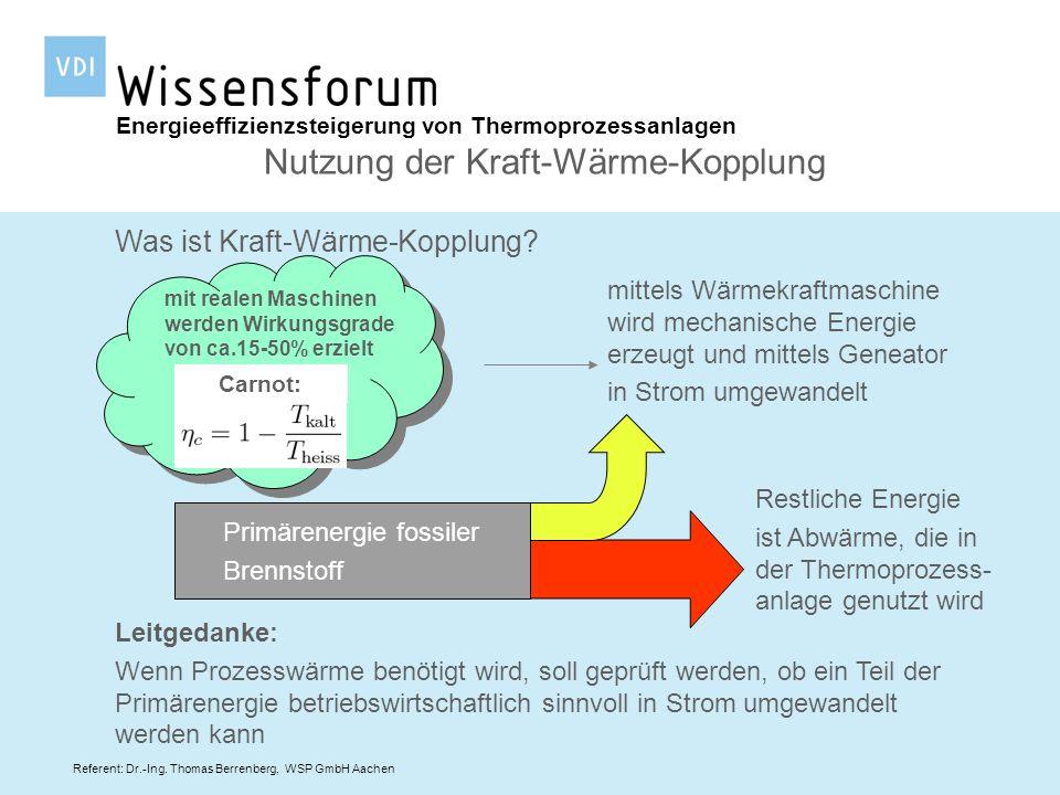 Referent: Dr.-Ing. Thomas Berrenberg, WSP GmbH Aachen Energieeffizienzsteigerung von Thermoprozessanlagen Nutzung der Kraft-Wärme-Kopplung Was ist Kra