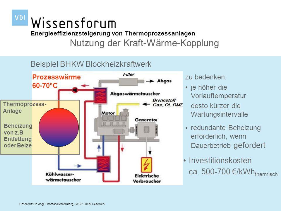Referent: Dr.-Ing. Thomas Berrenberg, WSP GmbH Aachen Energieeffizienzsteigerung von Thermoprozessanlagen Nutzung der Kraft-Wärme-Kopplung Beispiel BH