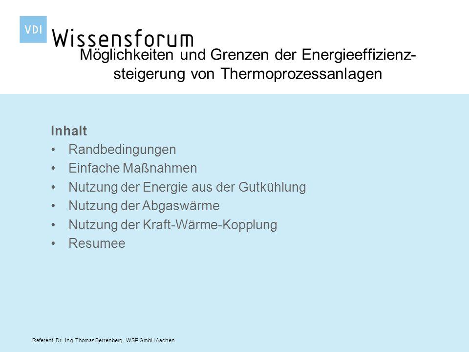 Referent: Dr.-Ing. Thomas Berrenberg, WSP GmbH Aachen Inhalt Randbedingungen Einfache Maßnahmen Nutzung der Energie aus der Gutkühlung Nutzung der Abg