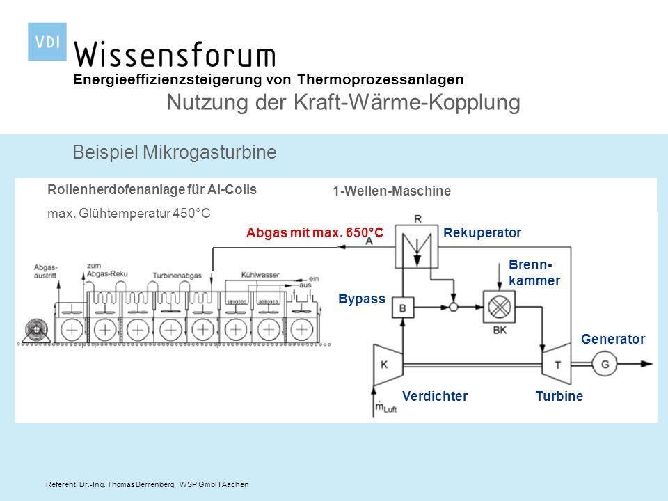 Referent: Dr.-Ing. Thomas Berrenberg, WSP GmbH Aachen Energieeffizienzsteigerung von Thermoprozessanlagen Nutzung der Kraft-Wärme-Kopplung Beispiel Mi