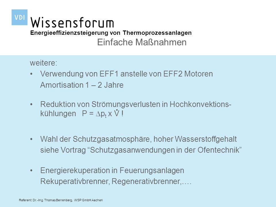Referent: Dr.-Ing. Thomas Berrenberg, WSP GmbH Aachen weitere: Verwendung von EFF1 anstelle von EFF2 Motoren Amortisation 1 – 2 Jahre Energieeffizienz
