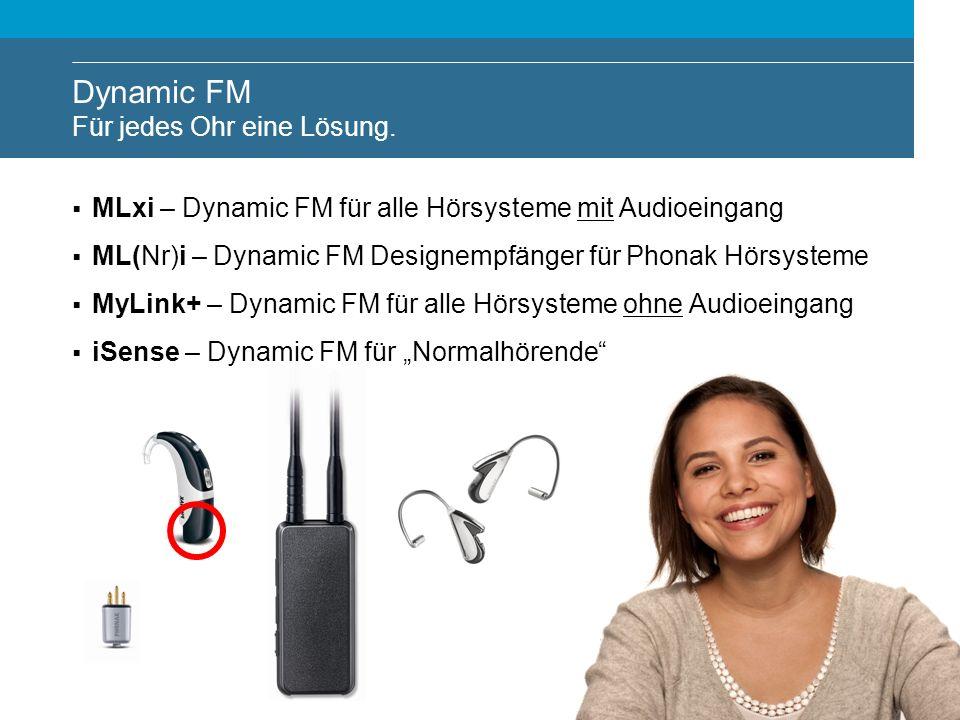 Dynamic FM Für jedes Ohr eine Lösung. MLxi – Dynamic FM für alle Hörsysteme mit Audioeingang ML(Nr)i – Dynamic FM Designempfänger für Phonak Hörsystem