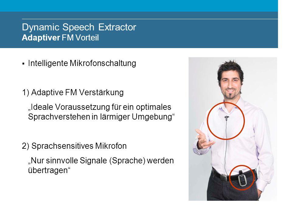 Dynamic Speech Extractor Adaptiver FM Vorteil Intelligente Mikrofonschaltung 1) Adaptive FM Verstärkung Ideale Voraussetzung für ein optimales Sprachv