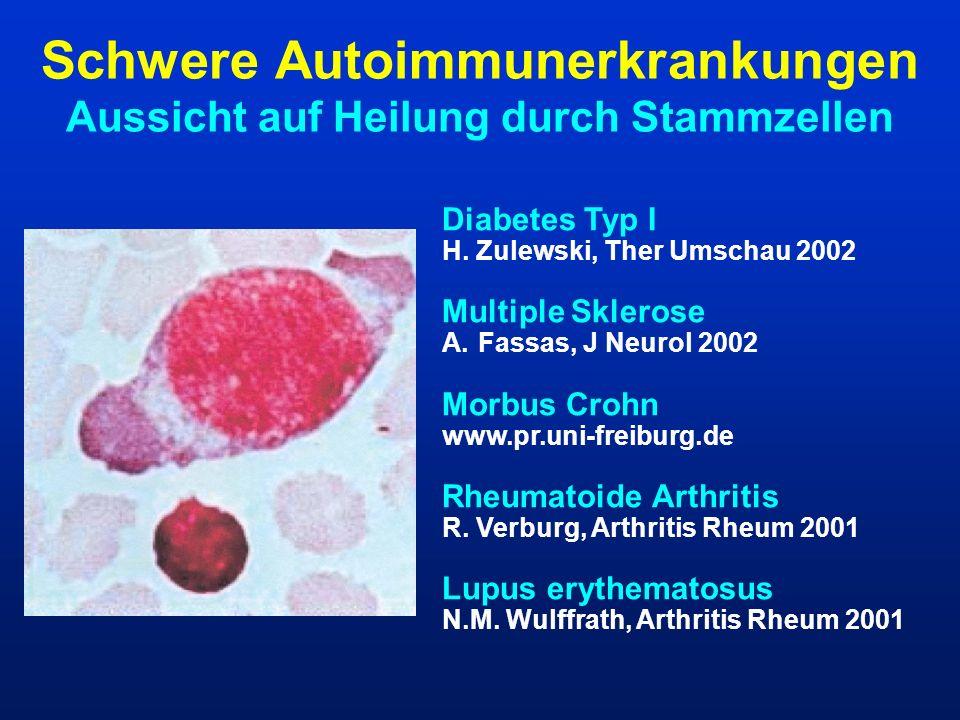 Schwere Autoimmunerkrankungen Aussicht auf Heilung durch Stammzellen Diabetes Typ I H. Zulewski, Ther Umschau 2002 Multiple Sklerose A.Fassas, J Neuro