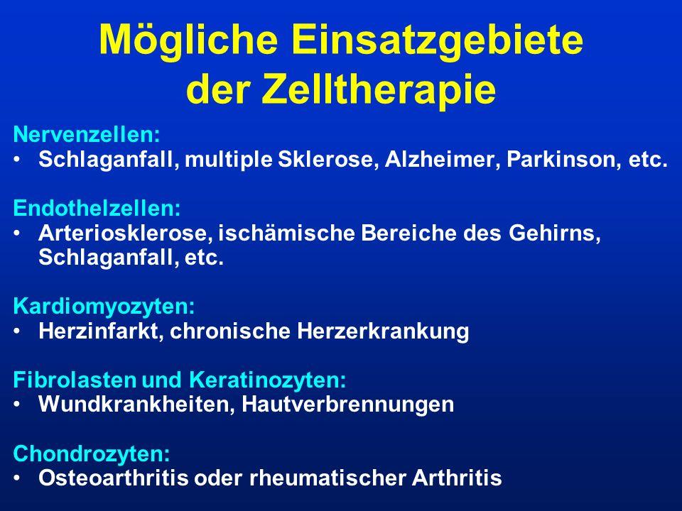 Mögliche Einsatzgebiete der Zelltherapie Nervenzellen: Schlaganfall, multiple Sklerose, Alzheimer, Parkinson, etc. Endothelzellen: Arteriosklerose, is