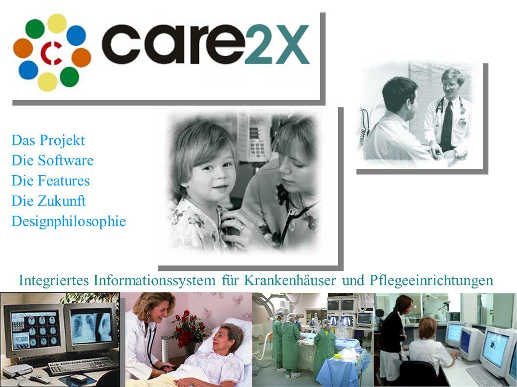 Integriertes Informationssystem für Krankenhäuser und Pflegeeinrichtungen Die Software Das Projekt Die Features Die Zukunft Designphilosophie