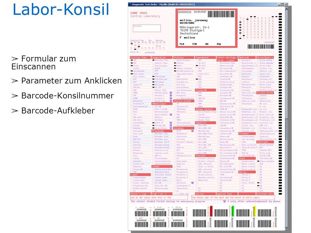 Labor-Konsil Formular zum Einscannen Parameter zum Anklicken Barcode-Konsilnummer Barcode-Aufkleber