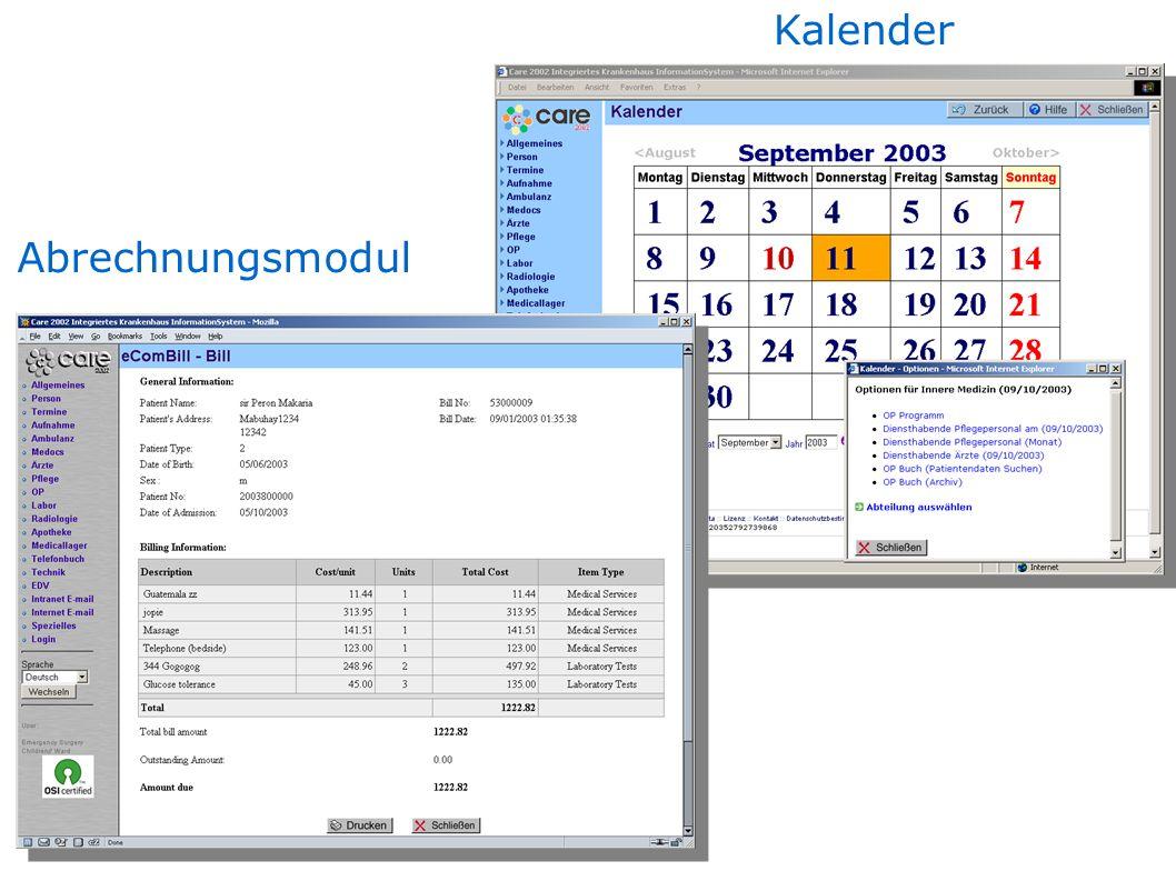 Abrechnungsmodul Kalender