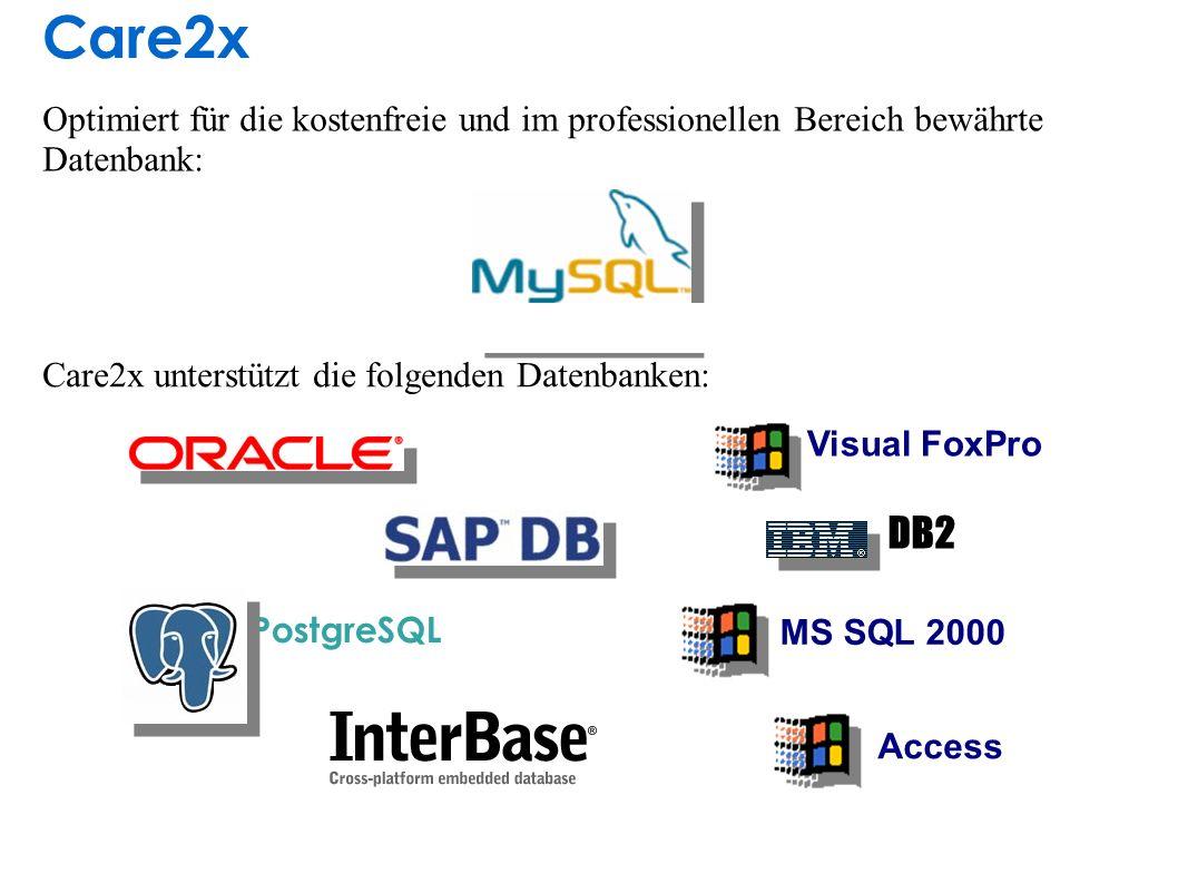 Care2x unterstützt die folgenden Datenbanken: Optimiert für die kostenfreie und im professionellen Bereich bewährte Datenbank: PostgreSQL MS SQL 2000