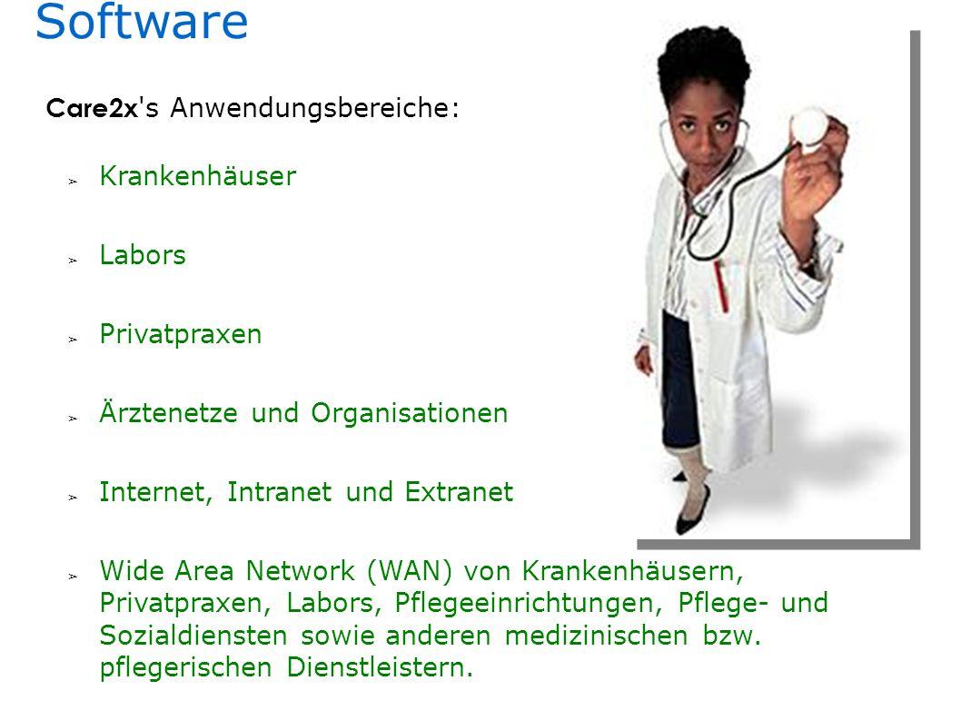Software Labors Ärztenetze und Organisationen Krankenhäuser Privatpraxen Internet, Intranet und Extranet Wide Area Network (WAN) von Krankenhäusern, Privatpraxen, Labors, Pflegeeinrichtungen, Pflege- und Sozialdiensten sowie anderen medizinischen bzw.