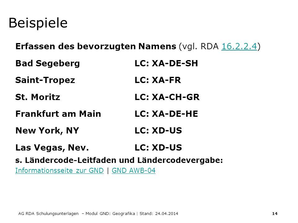 AG RDA Schulungsunterlagen – Modul GND: Geografika | Stand: 24.04.2014 14 Beispiele Erfassen des bevorzugten Namens (vgl. RDA 16.2.2.4)16.2.2.4 Bad Se