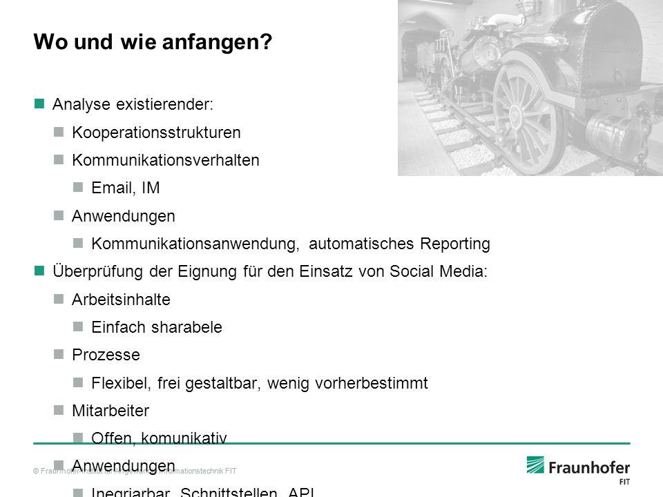 © Fraunhofer-Institut für Angewandte Informationstechnik FIT Wo und wie anfangen? Analyse existierender: Kooperationsstrukturen Kommunikationsverhalte