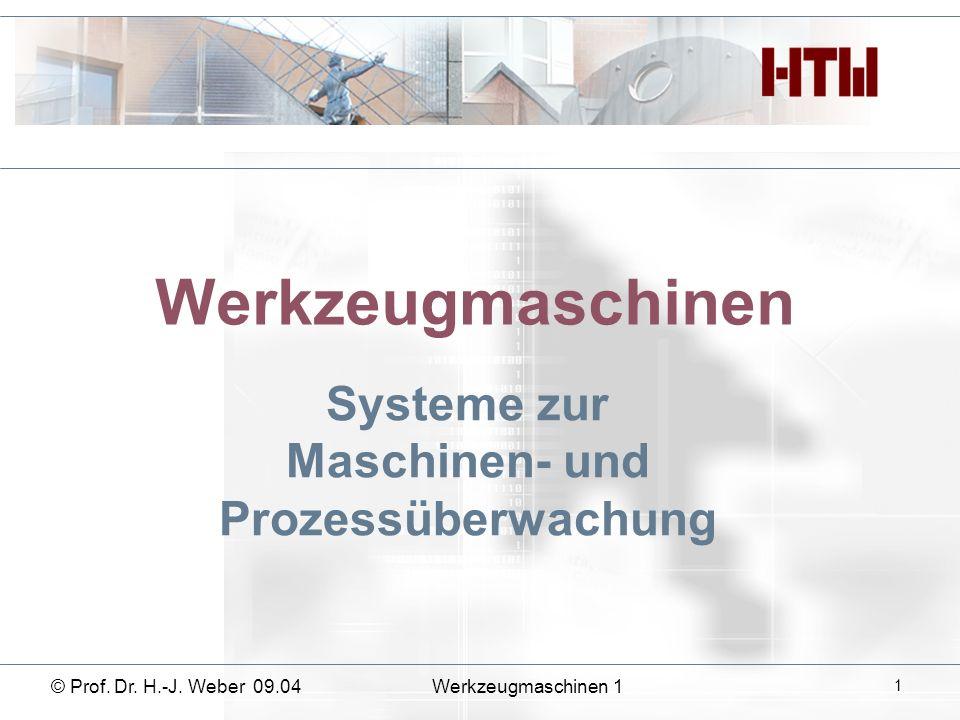Werkzeugmaschinen Systeme zur Maschinen- und Prozessüberwachung © Prof. Dr. H.-J. Weber 09.04Werkzeugmaschinen 1 1