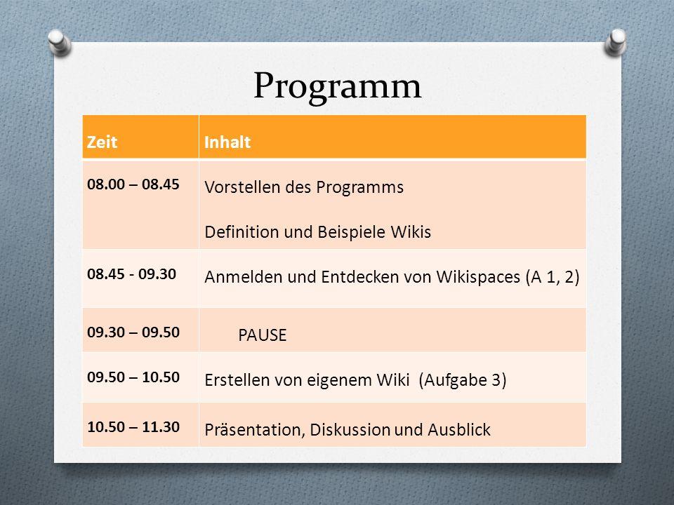 Programm ZeitInhalt 08.00 – 08.45 Vorstellen des Programms Definition und Beispiele Wikis 08.45 - 09.30 Anmelden und Entdecken von Wikispaces (A 1, 2)