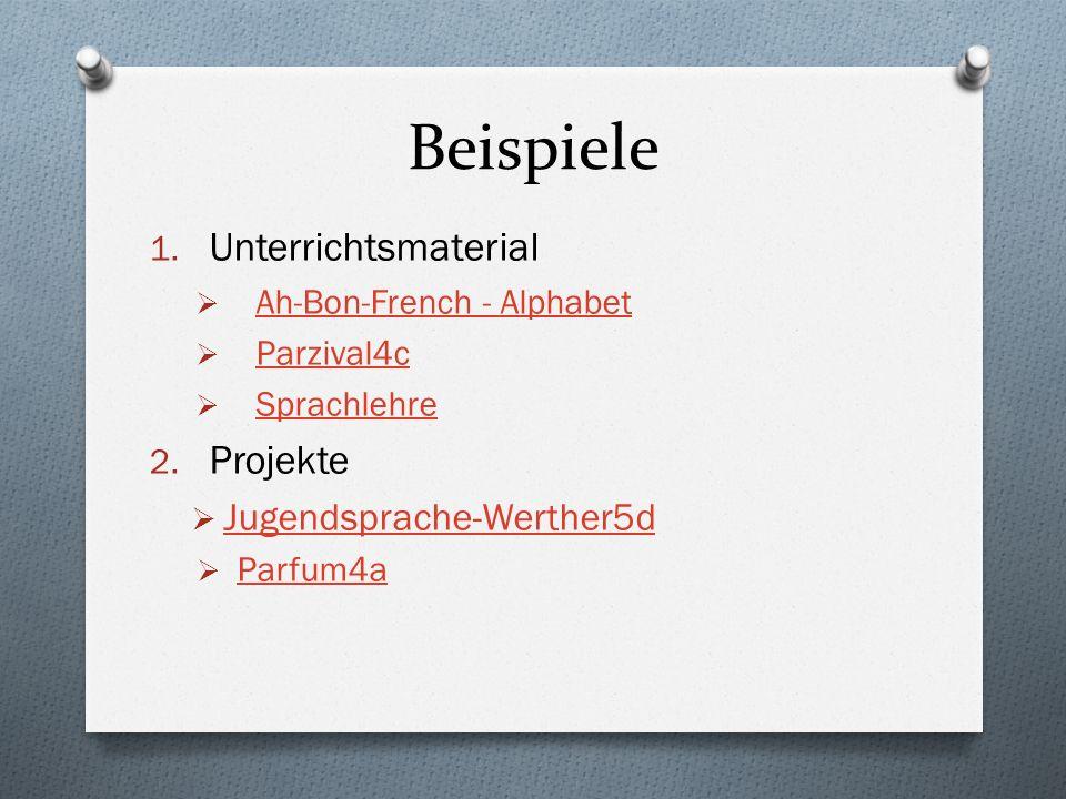 Beispiele 1. Unterrichtsmaterial Ah-Bon-French - Alphabet Parzival4c Sprachlehre 2. Projekte Jugendsprache-Werther5d Parfum4a