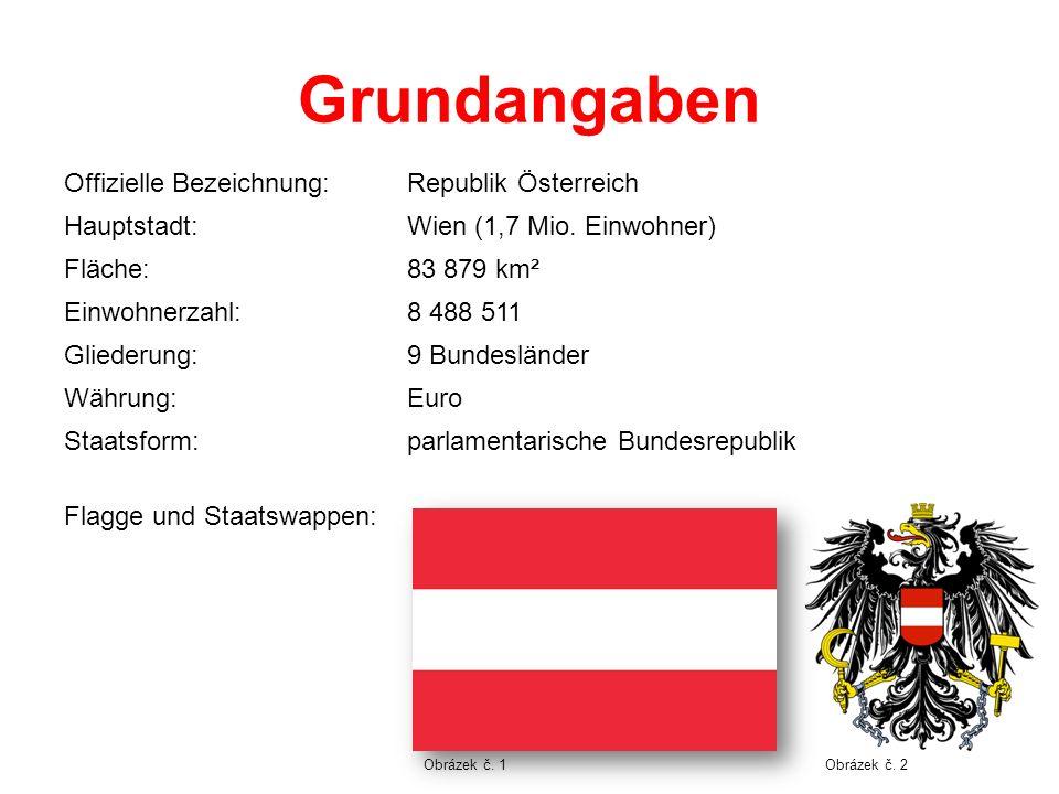 Grundangaben Offizielle Bezeichnung:Republik Österreich Hauptstadt:Wien (1,7 Mio. Einwohner) Fläche:83 879 km² Einwohnerzahl:8 488 511 Gliederung:9 Bu