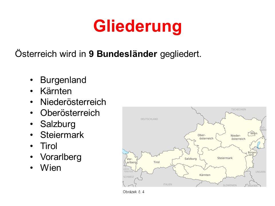Gliederung Österreich wird in 9 Bundesländer gegliedert. Burgenland Kärnten Niederösterreich Oberösterreich Salzburg Steiermark Tirol Vorarlberg Wien