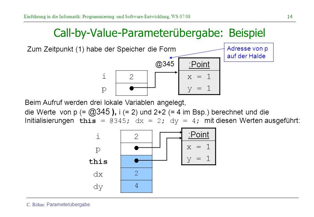 Einführung in die Informatik: Programmierung und Software-Entwicklung, WS 07/08 C. Böhm: Parameterübergabe 14 Call-by-Value-Parameterübergabe: Beispie