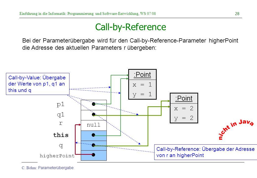 Einführung in die Informatik: Programmierung und Software-Entwicklung, WS 07/08 C. Böhm: Parameterübergabe 28 higherPoint Call-by-Reference Bei der Pa