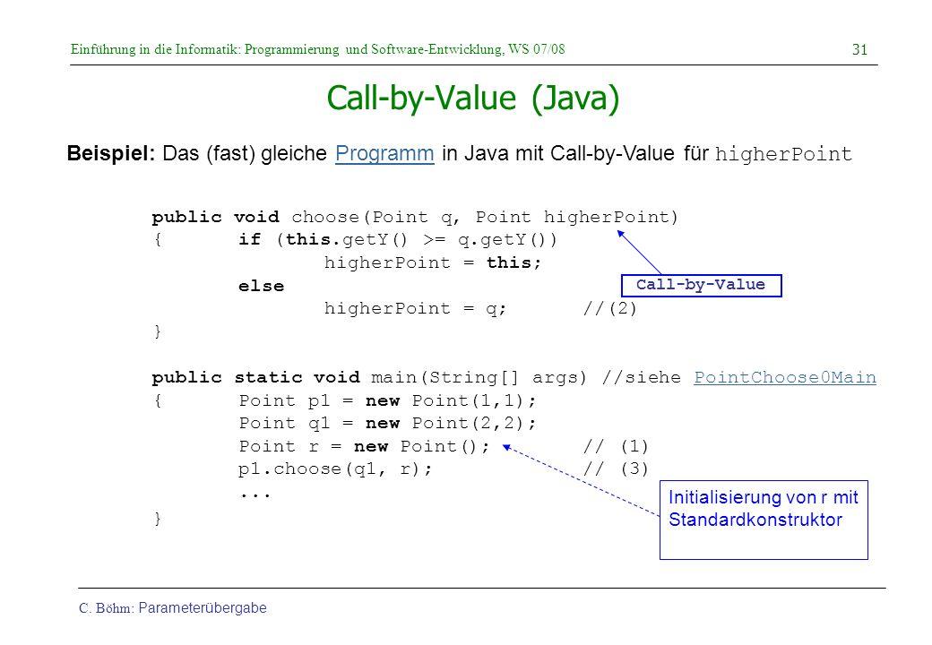 Einführung in die Informatik: Programmierung und Software-Entwicklung, WS 07/08 C. Böhm: Parameterübergabe 31 Call-by-Value (Java) Beispiel: Das (fast