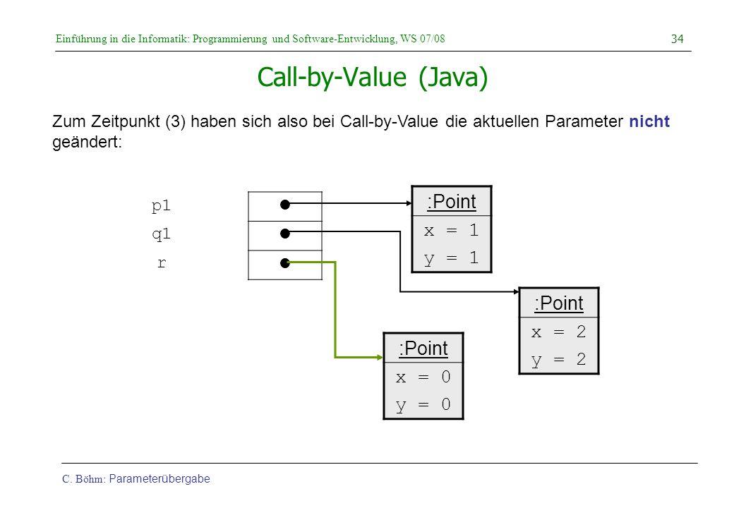 Einführung in die Informatik: Programmierung und Software-Entwicklung, WS 07/08 C. Böhm: Parameterübergabe 34 Call-by-Value (Java) Zum Zeitpunkt (3) h