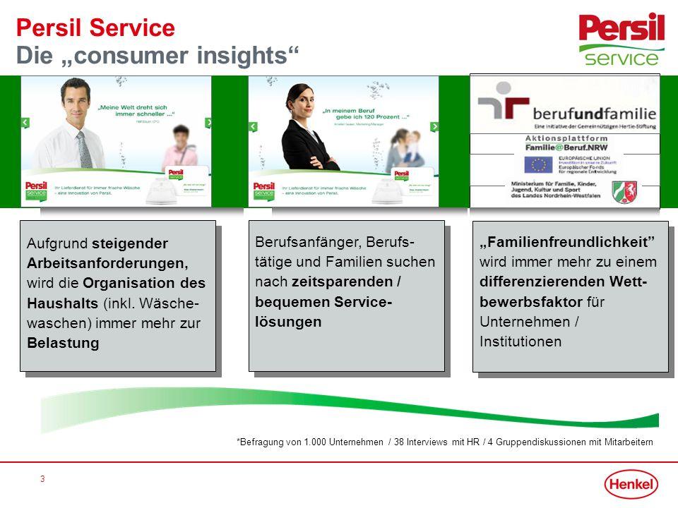 3 Persil Service Die consumer insights Aufgrund steigender Arbeitsanforderungen, wird die Organisation des Haushalts (inkl. Wäsche- waschen) immer meh