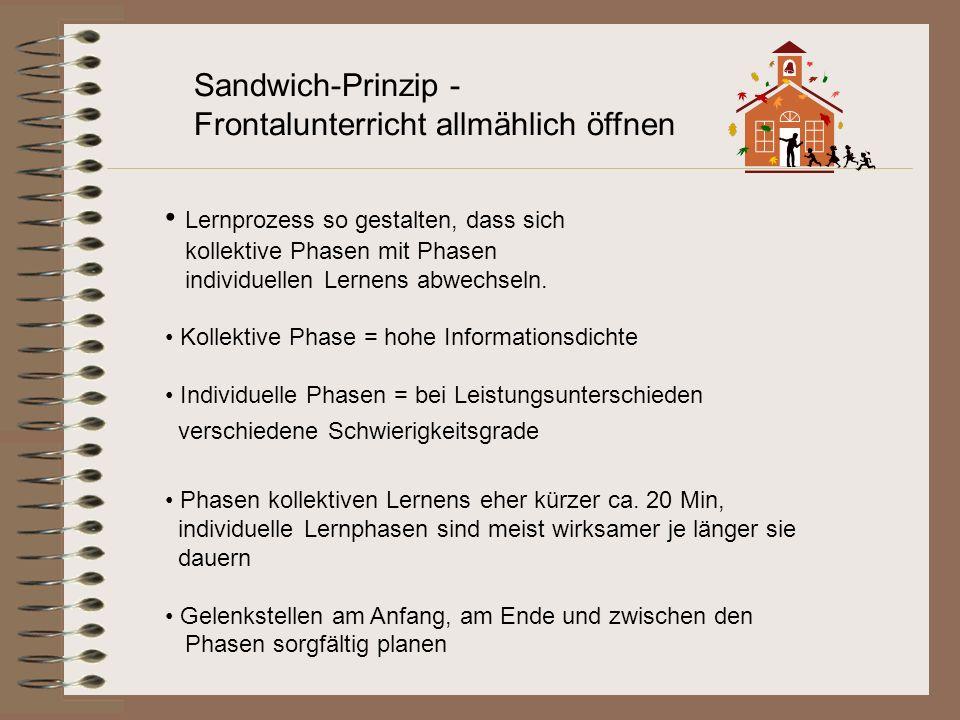 Sandwich-Prinzip - Frontalunterricht allmählich öffnen Lernprozess so gestalten, dass sich kollektive Phasen mit Phasen individuellen Lernens abwechse