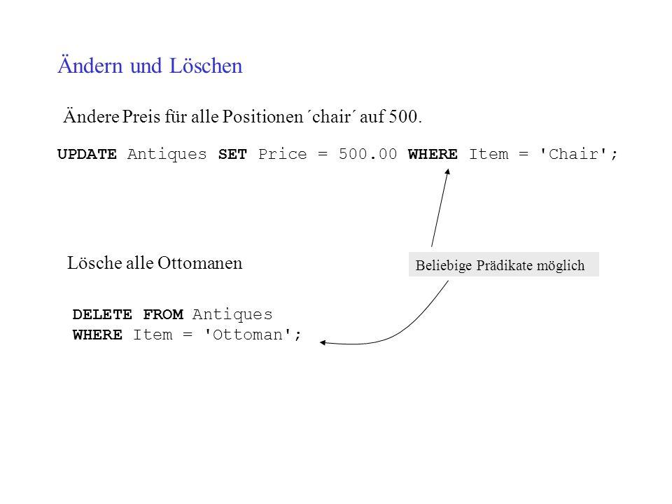 Ändern und Löschen Ändere Preis für alle Positionen ´chair´ auf 500. UPDATE Antiques SET Price = 500.00 WHERE Item = 'Chair'; Lösche alle Ottomanen DE