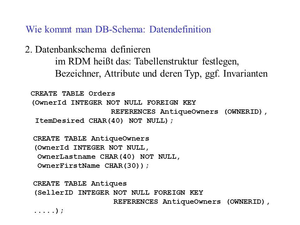 Wie kommt man DB-Schema: Datendefinition 2. Datenbankschema definieren im RDM heißt das: Tabellenstruktur festlegen, Bezeichner, Attribute und deren T