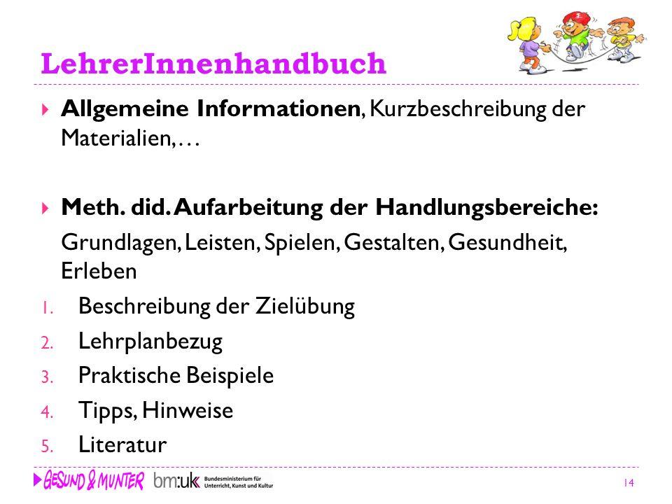 14 LehrerInnenhandbuch Allgemeine Informationen, Kurzbeschreibung der Materialien,… Meth. did. Aufarbeitung der Handlungsbereiche: Grundlagen, Leisten
